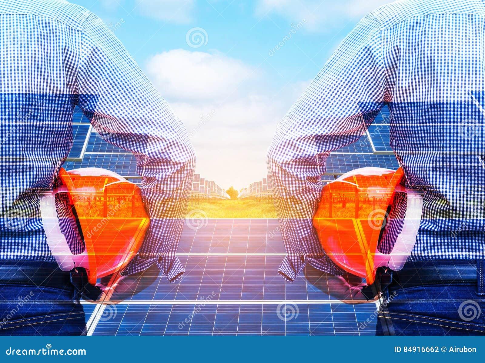 A exposição dobro projeta guardar a central elétrica de energias solares da parte dianteira do capacete de segurança