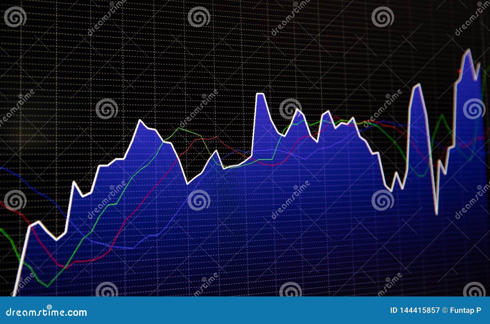 Exposição financeira do preço do gráfico do mercado de valores de ação e da carta de barra no fundo escuro