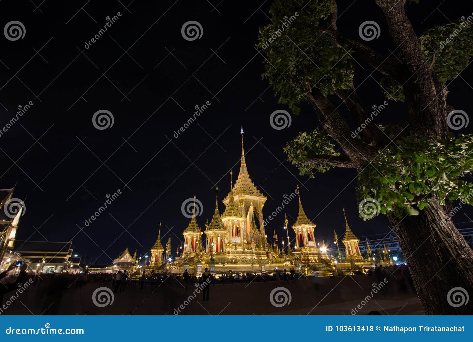 Exposição real da cremação, Sanam Luang, Banguecoque, Tailândia em November7,2017: Crematório real para a cremação real de seu Ma