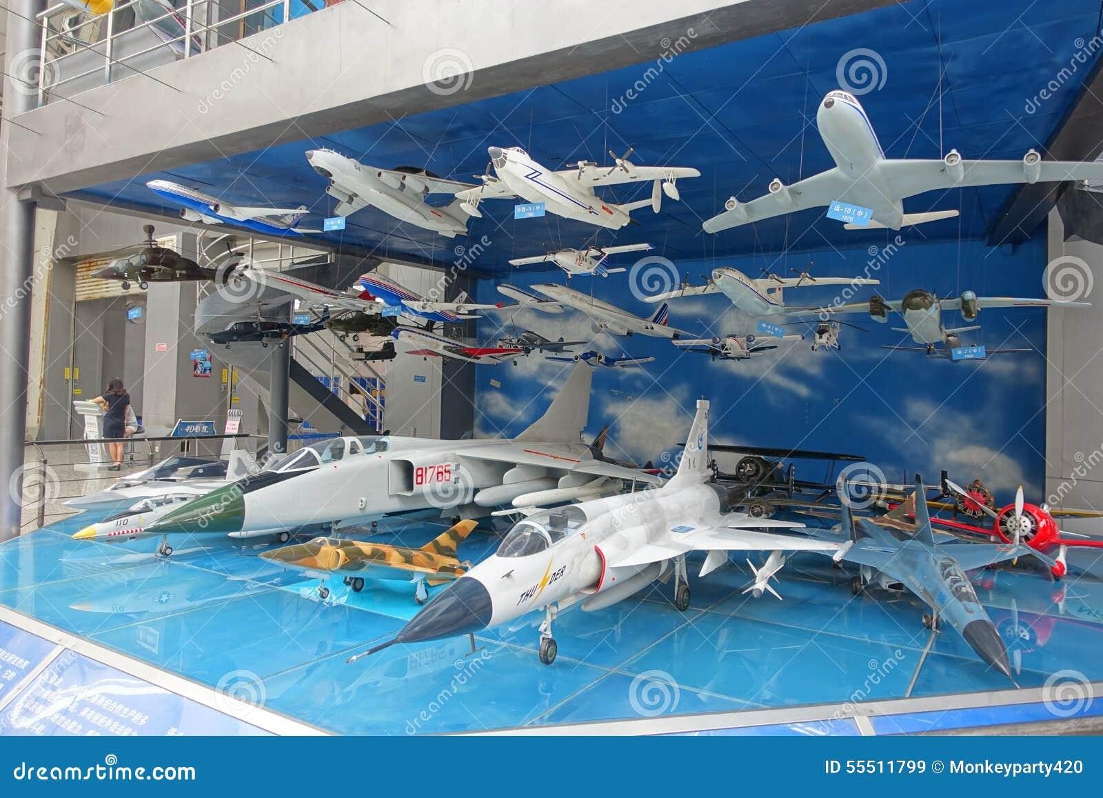 Exposición de la aviación en museo de la ciencia y de la tecnología de Sichuan