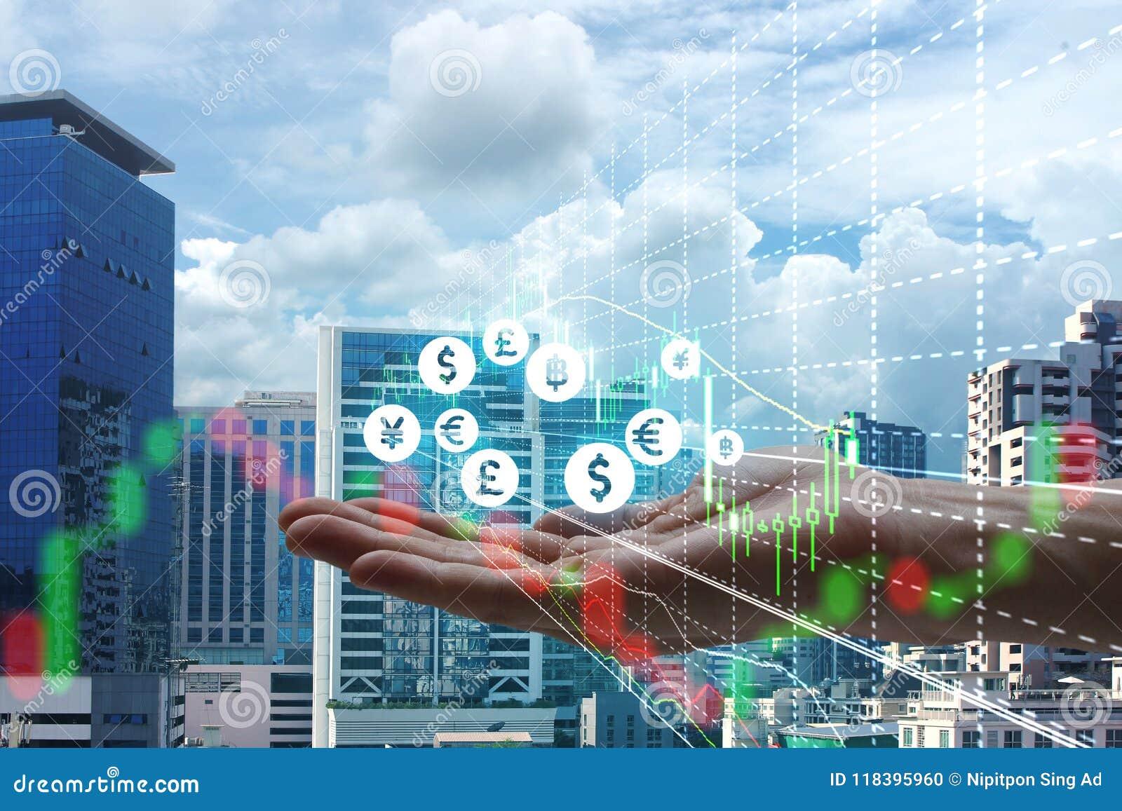 Exposición doble de la mano que celebra el interfaz de Fintech y de la acción m