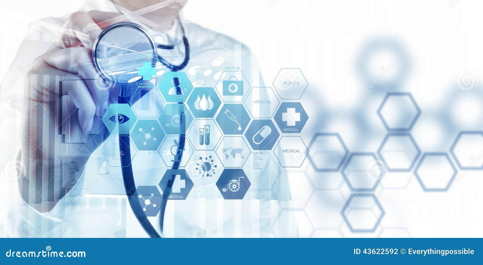 Exposición doble del funcionamiento elegante del médico