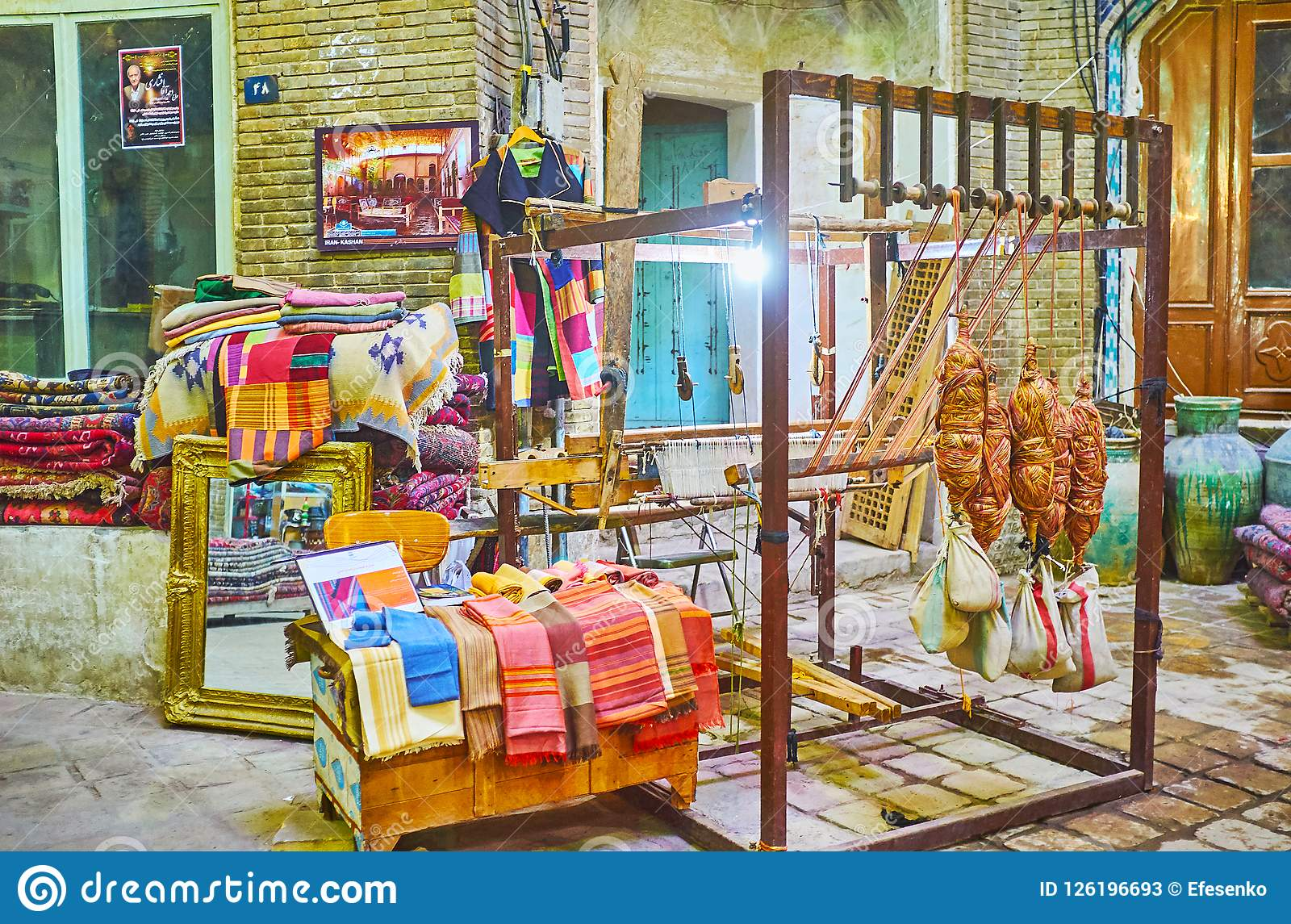 Exposición en el bazar magnífico de Kashan, Irán