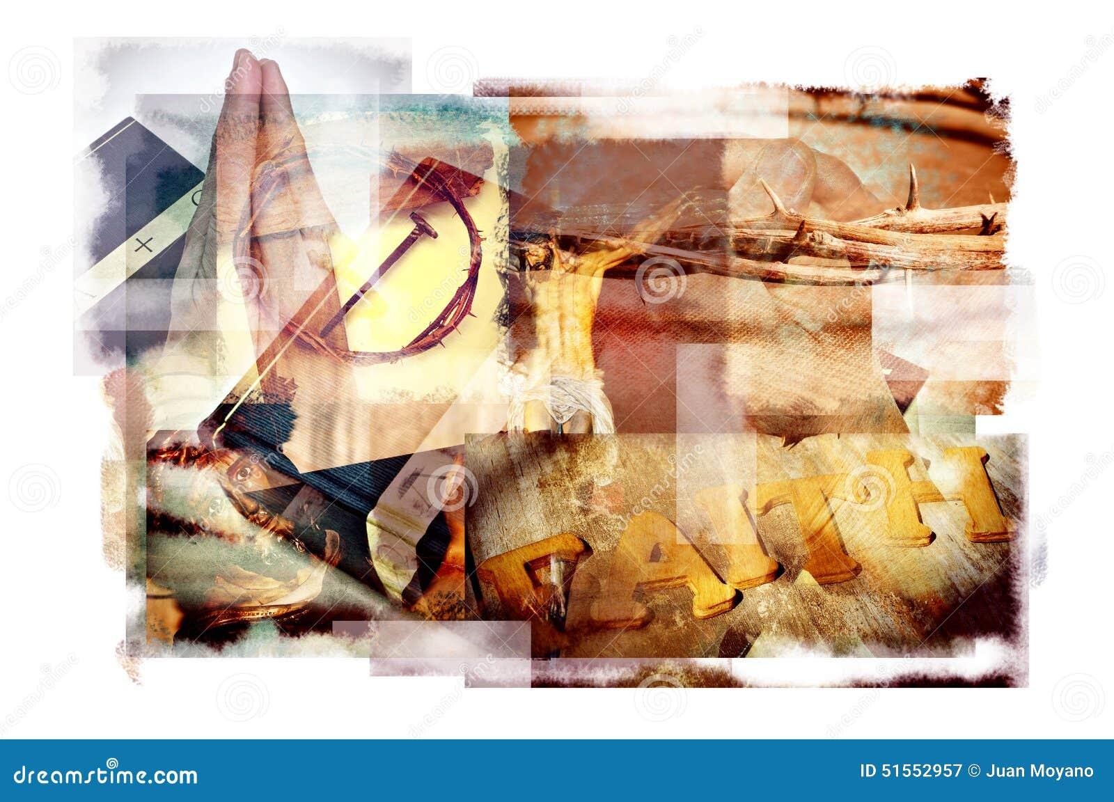 Exposiciones múltiples de diversos símbolos cristianos y católicos