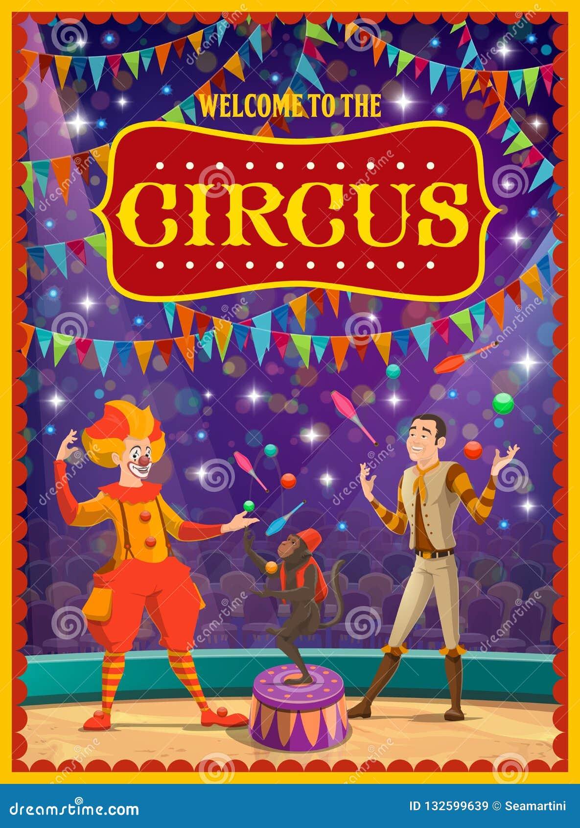 Exposition De Cirque Clown Et Jongleur Singe Qualifie