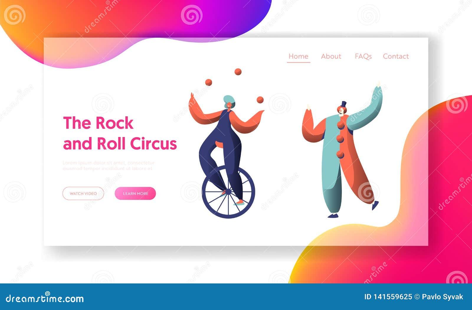 Exposition De Cirque D Amusement Avec La Page D Unicycle Acrobat