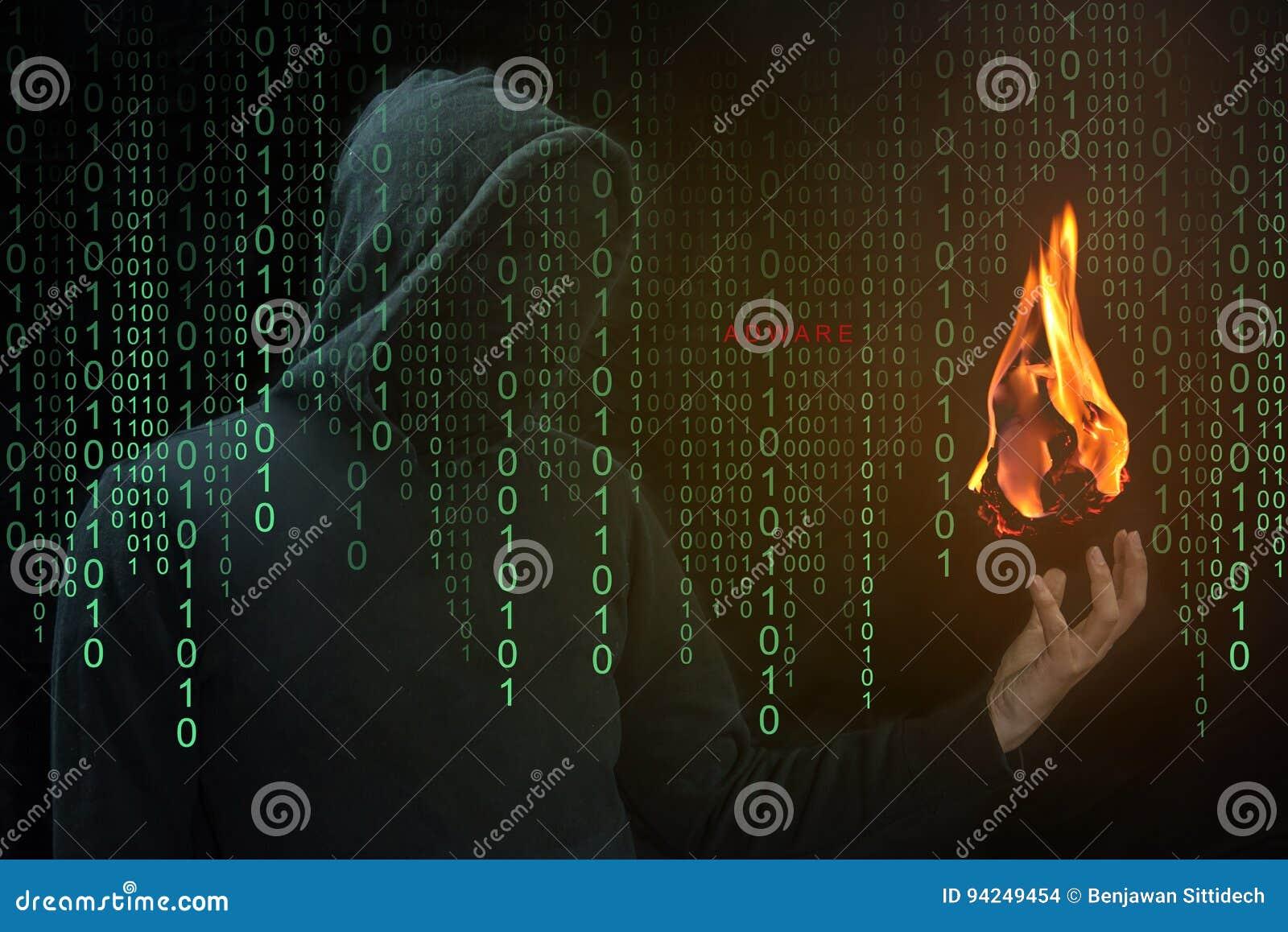 Exposition de pirate informatique un aérolithe en main, concept d Adware d aérolithe