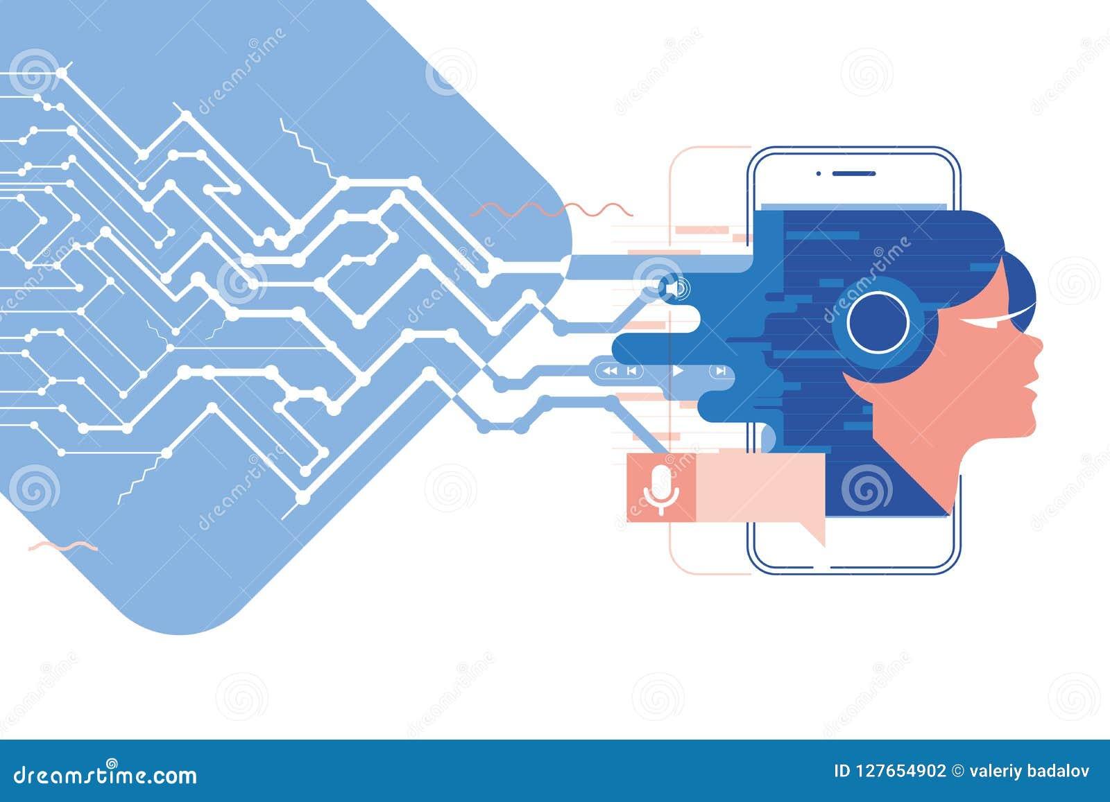 Exprese el ayudante, el app móvil, el ayudante personal y el ejemplo del vector del concepto del reconocimiento vocal del technol