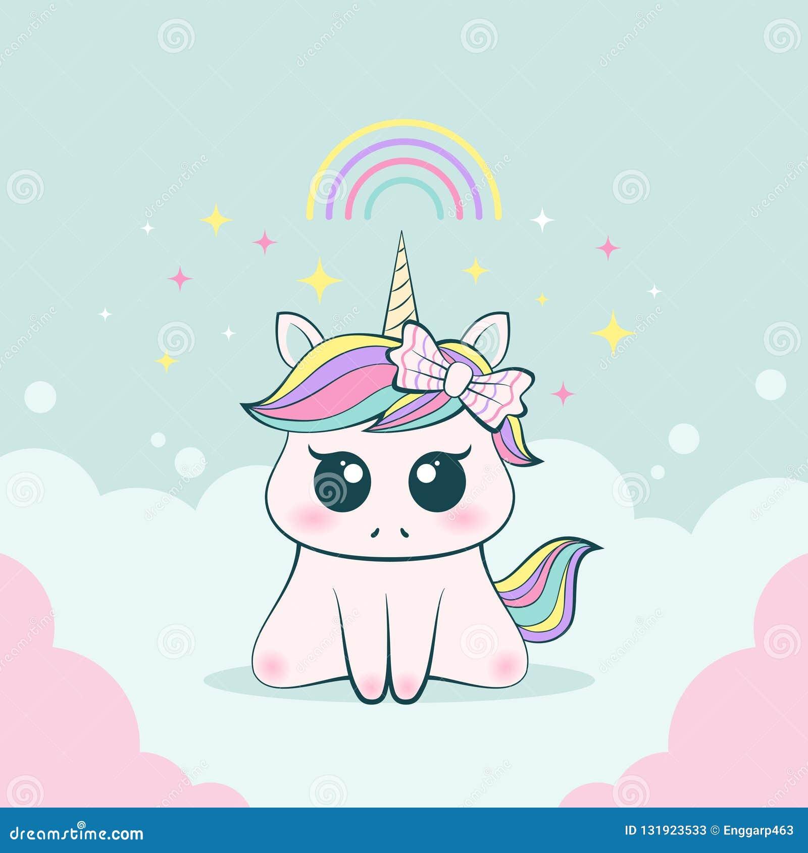 1cf4100dd74bc Expresión inocente y adorable del unicornio lindo del bebé con el arco  iris
