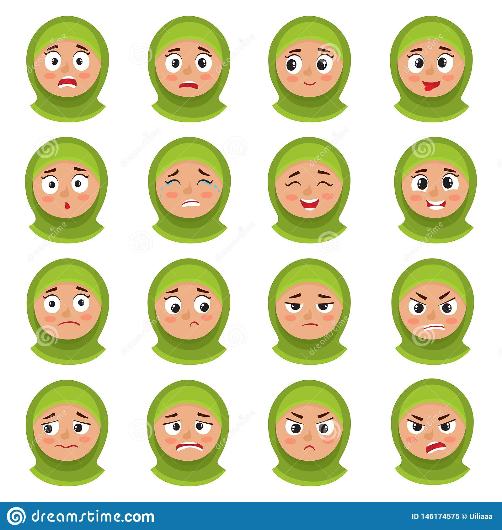 Expresión musulmán de la cara de la muchacha, sistema del vector de la historieta aislado en blanco