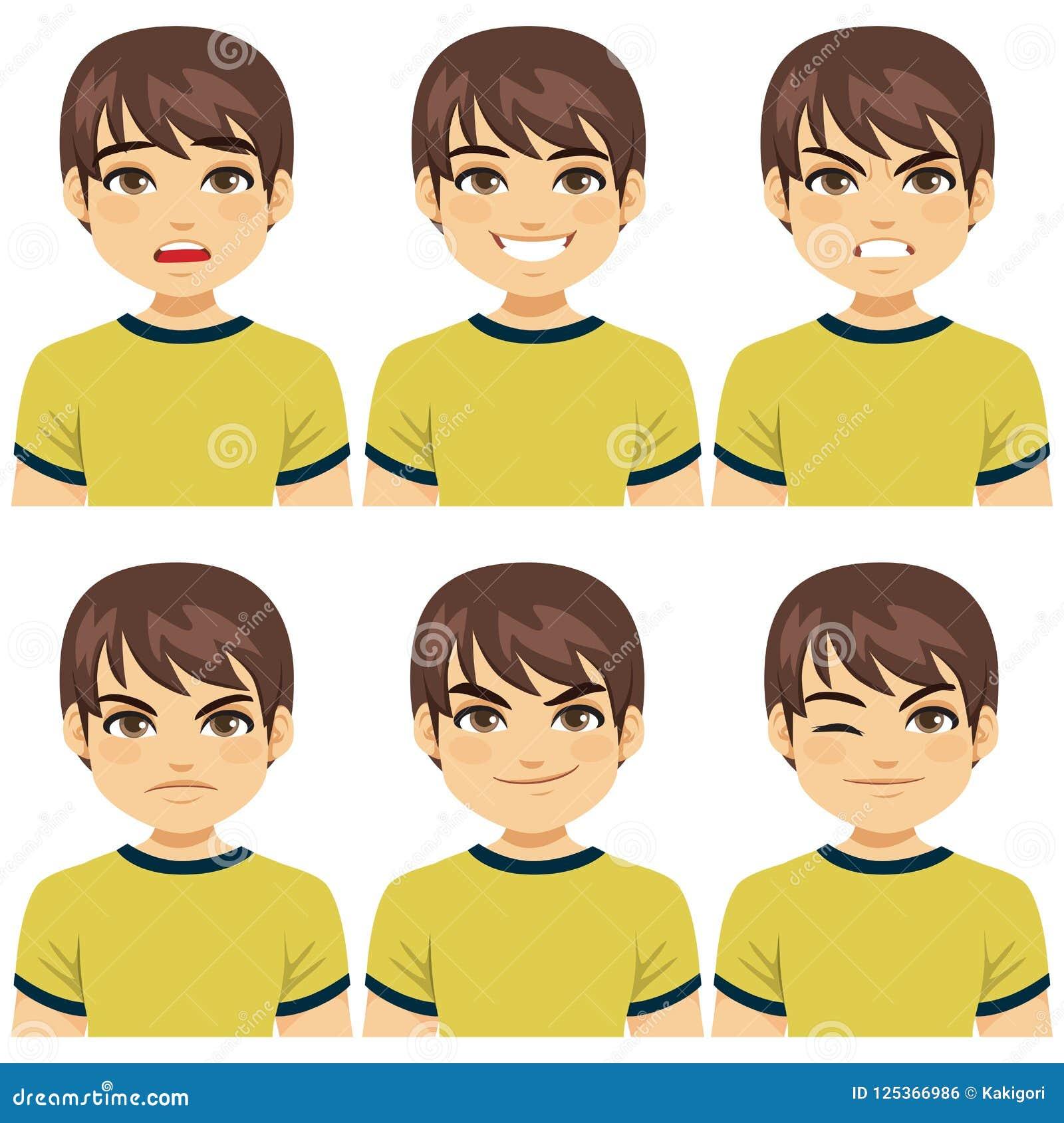 Expresiones de la cara del hombre