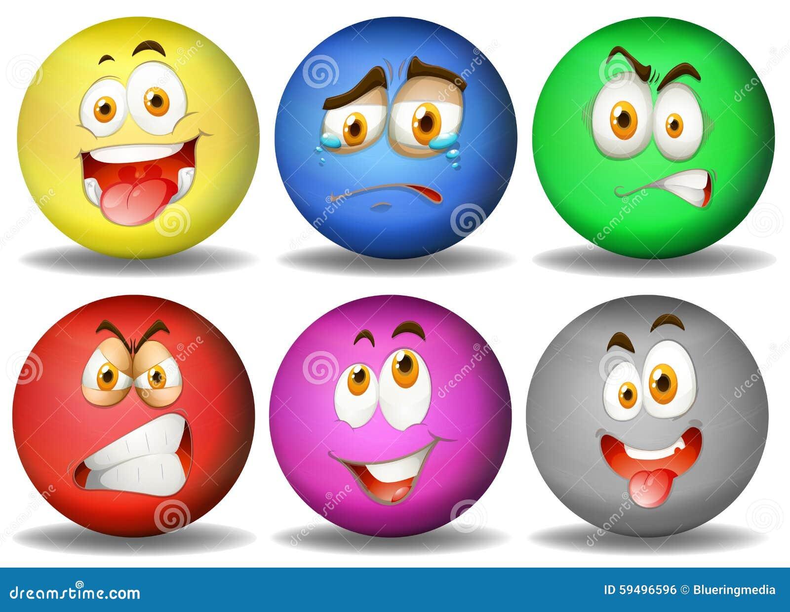 Expresiones faciales en bolas redondas ilustraci n del for Imagenes de piletas redondas