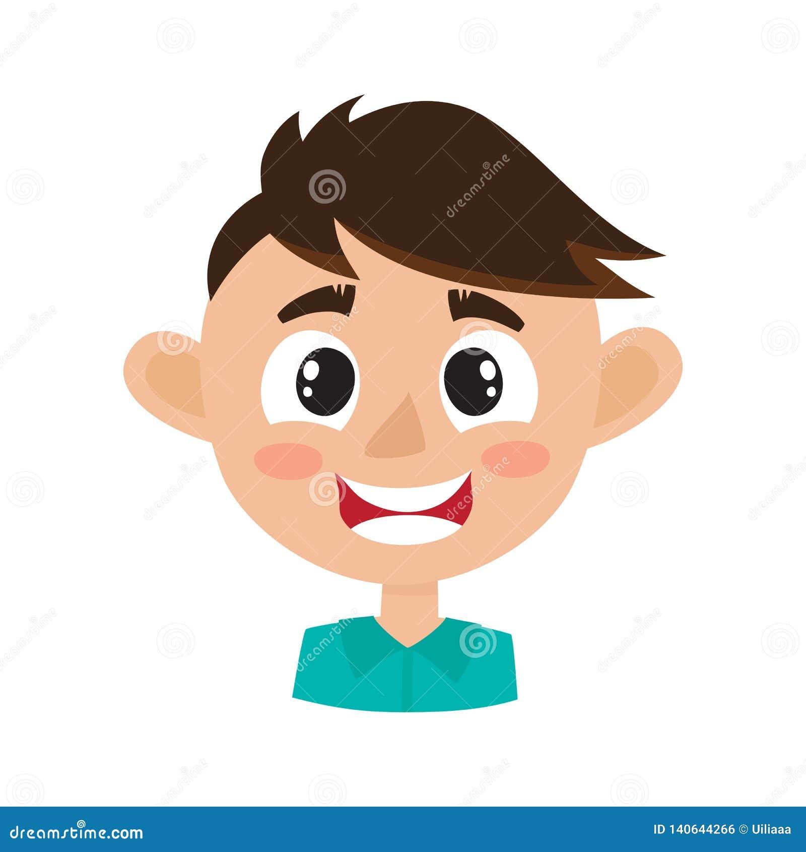 Expressão feliz da cara do menino, ilustrações do vetor dos desenhos animados isoladas no branco