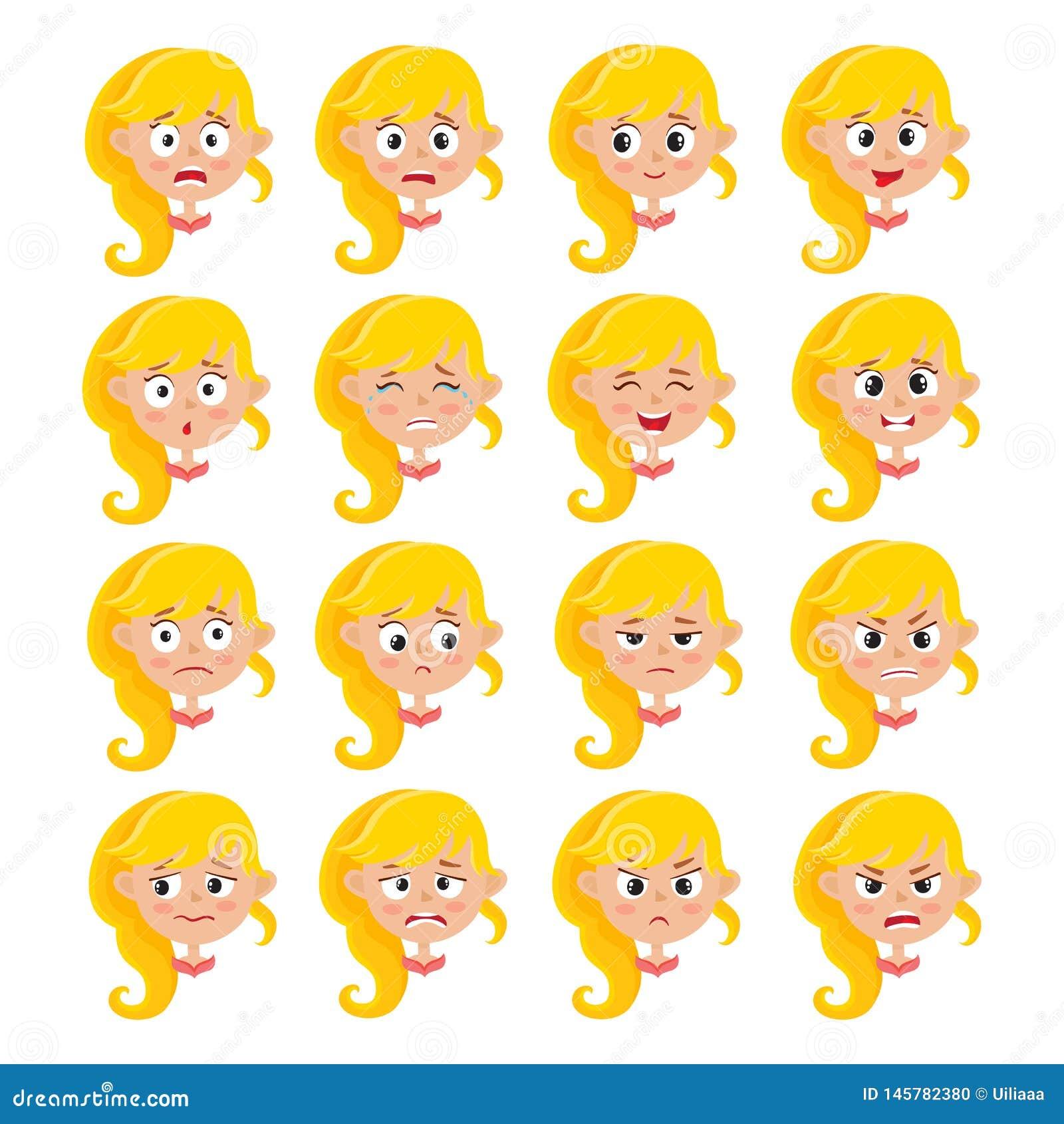 Expressão loura da cara da menina, grupo do vetor dos desenhos animados isolado no branco