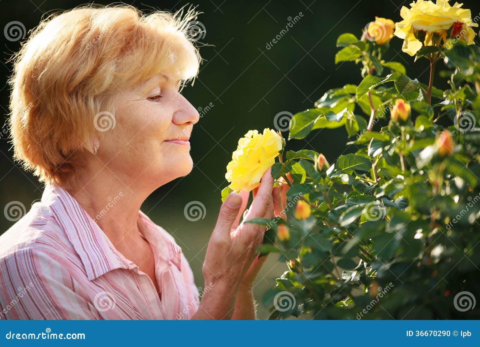 Expressão. Modelo superior da mulher com rosas do jardim. primavera