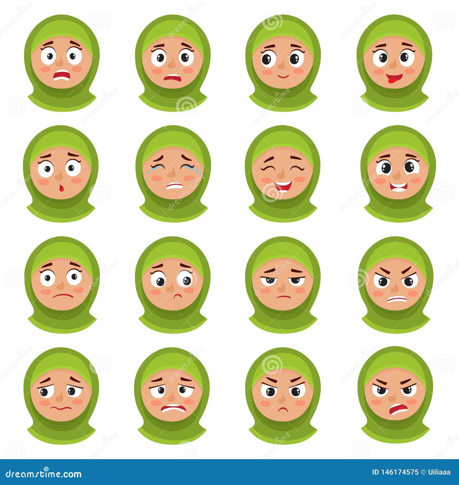 Expressão muçulmana da cara da menina, grupo do vetor dos desenhos animados isolado no branco