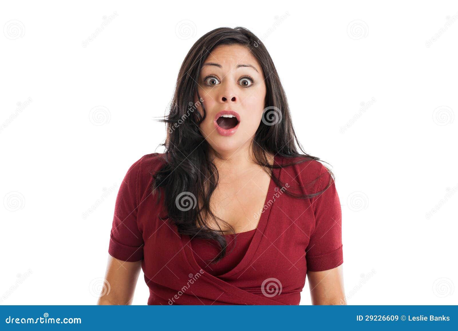 Download Expressão Surpreendida Da Mulher Imagem de Stock - Imagem de escuro, negativity: 29226609