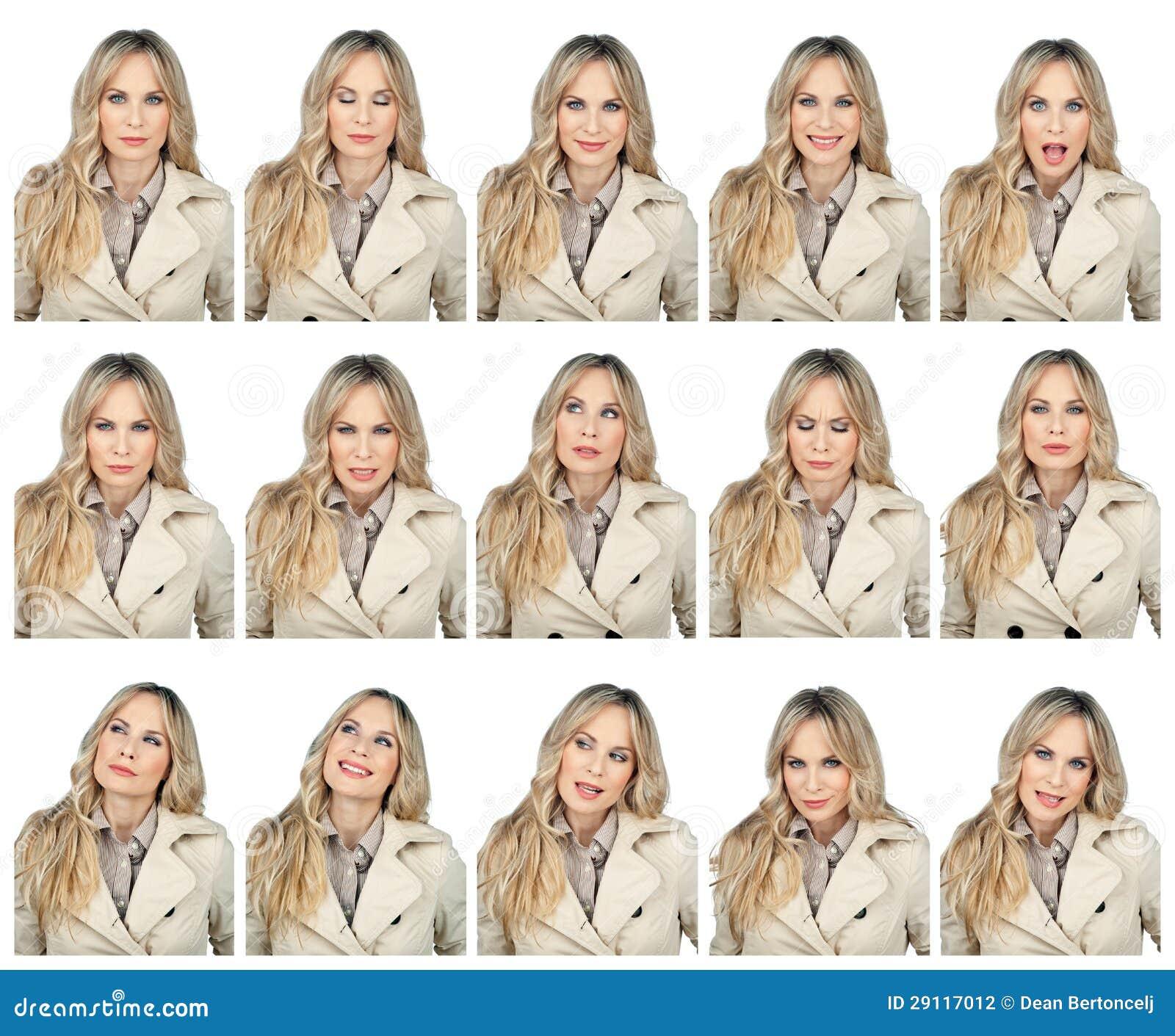 Expressões faciais da mulher