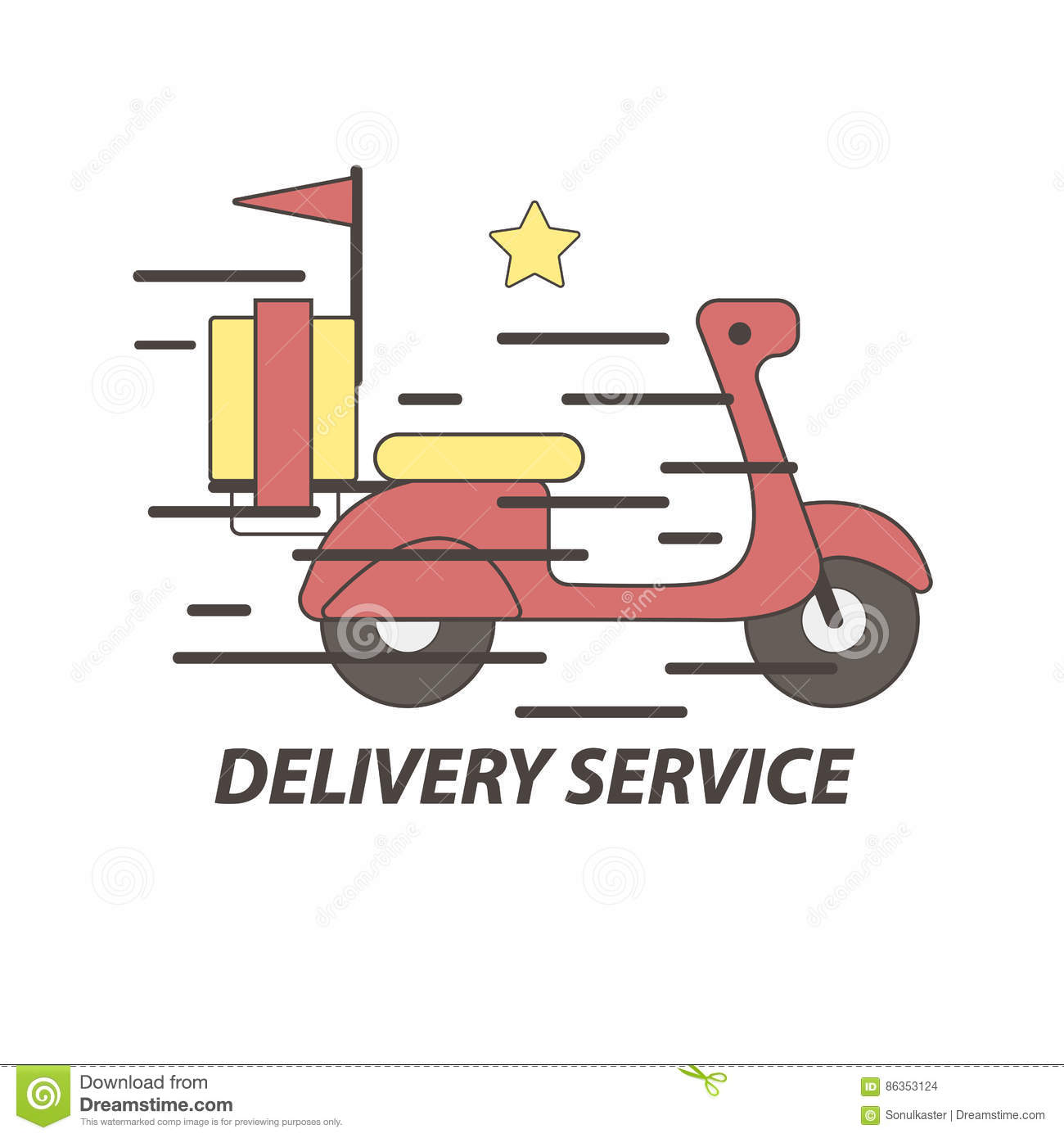 Express Delivery Food Service Scooter Vector Icon Stock Vector