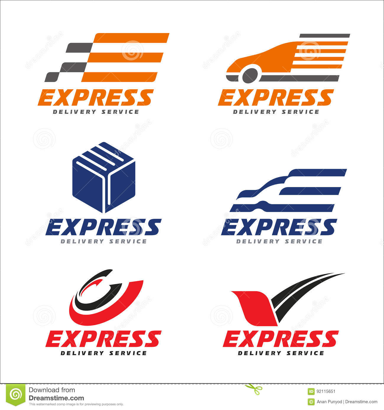 Express delivery service logo with transport car , box , arrow circle and bird sign vector set design