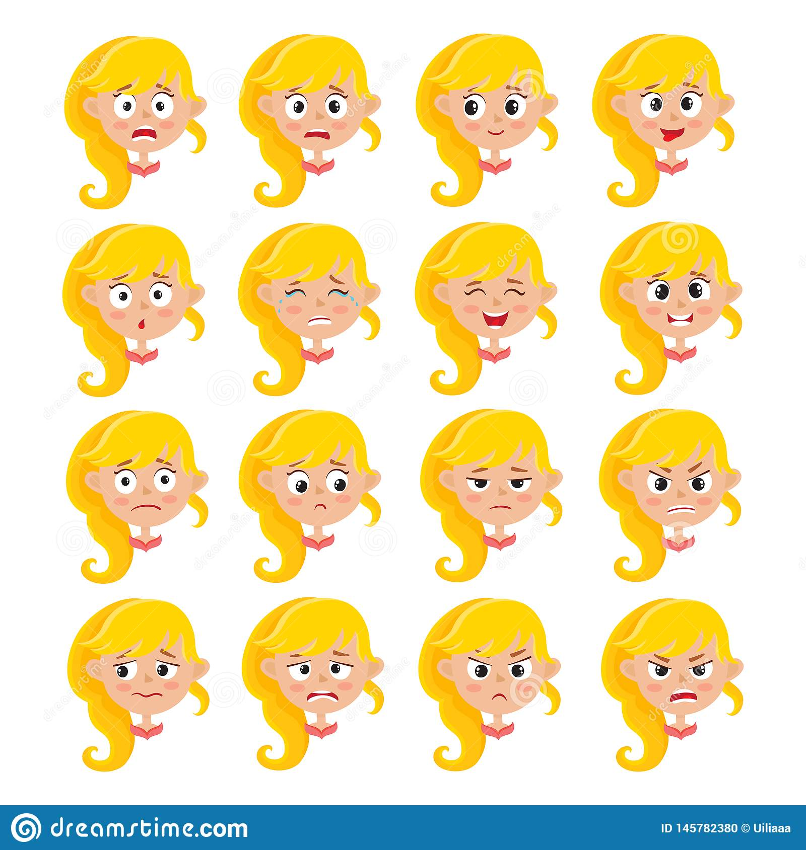 Expression blonde de visage de fille, ensemble de vecteur de bande dessinée d isolement sur le blanc