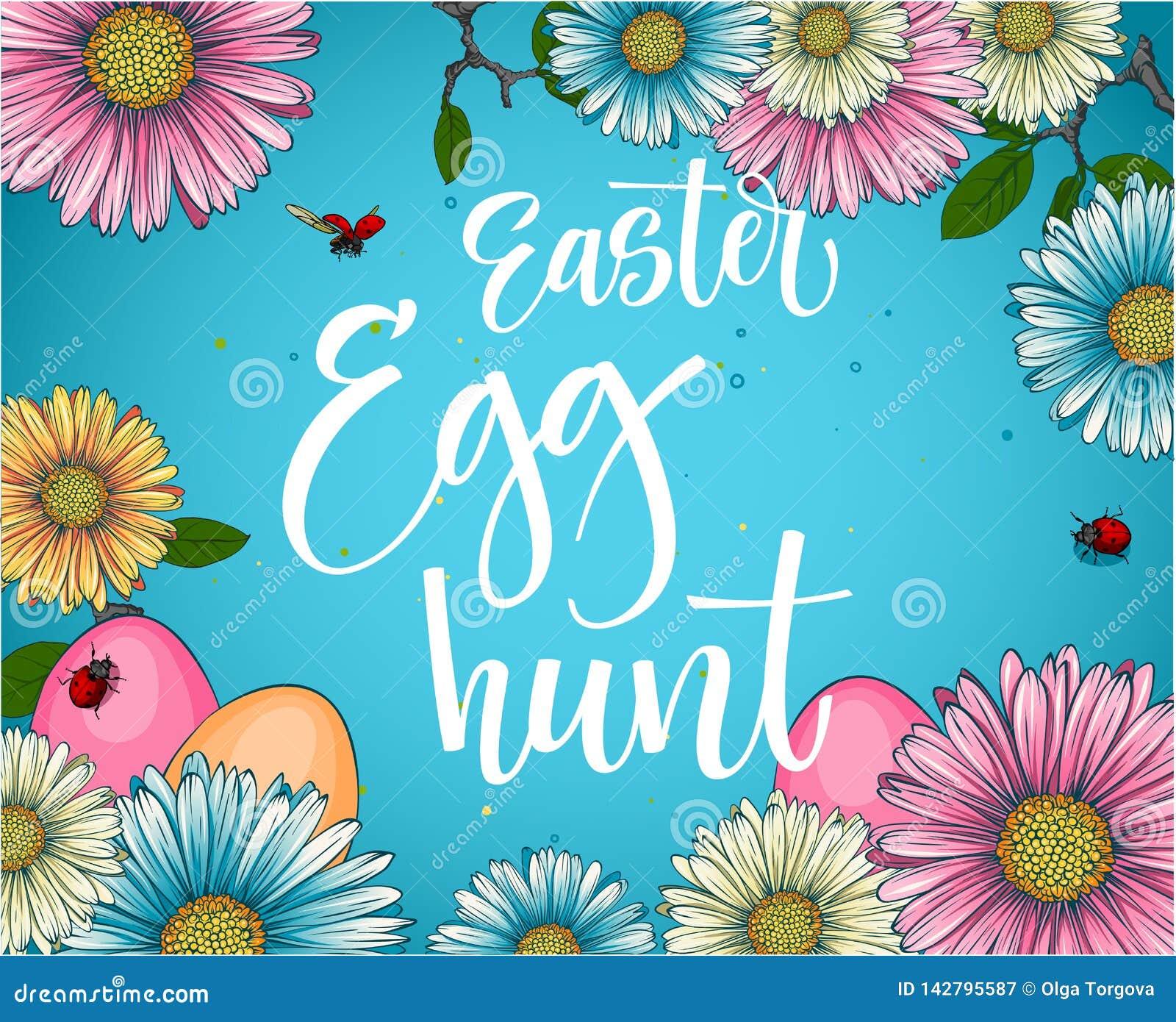 Expression colorée de calligraphie de chasse à oeuf de pâques avec le décor floral et d oeufs