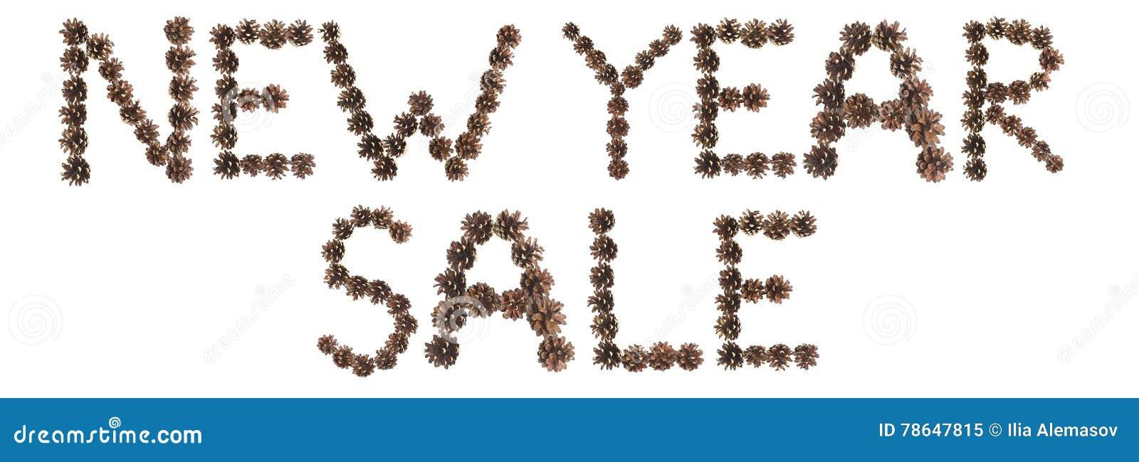 Expression de vente de nouvelle année faite en cône de pin
