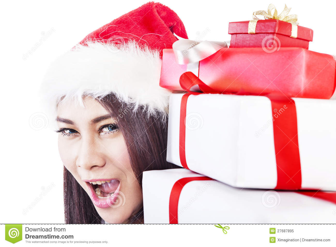 Expression Of Happy Woman With Christmas Gift Royalty Free