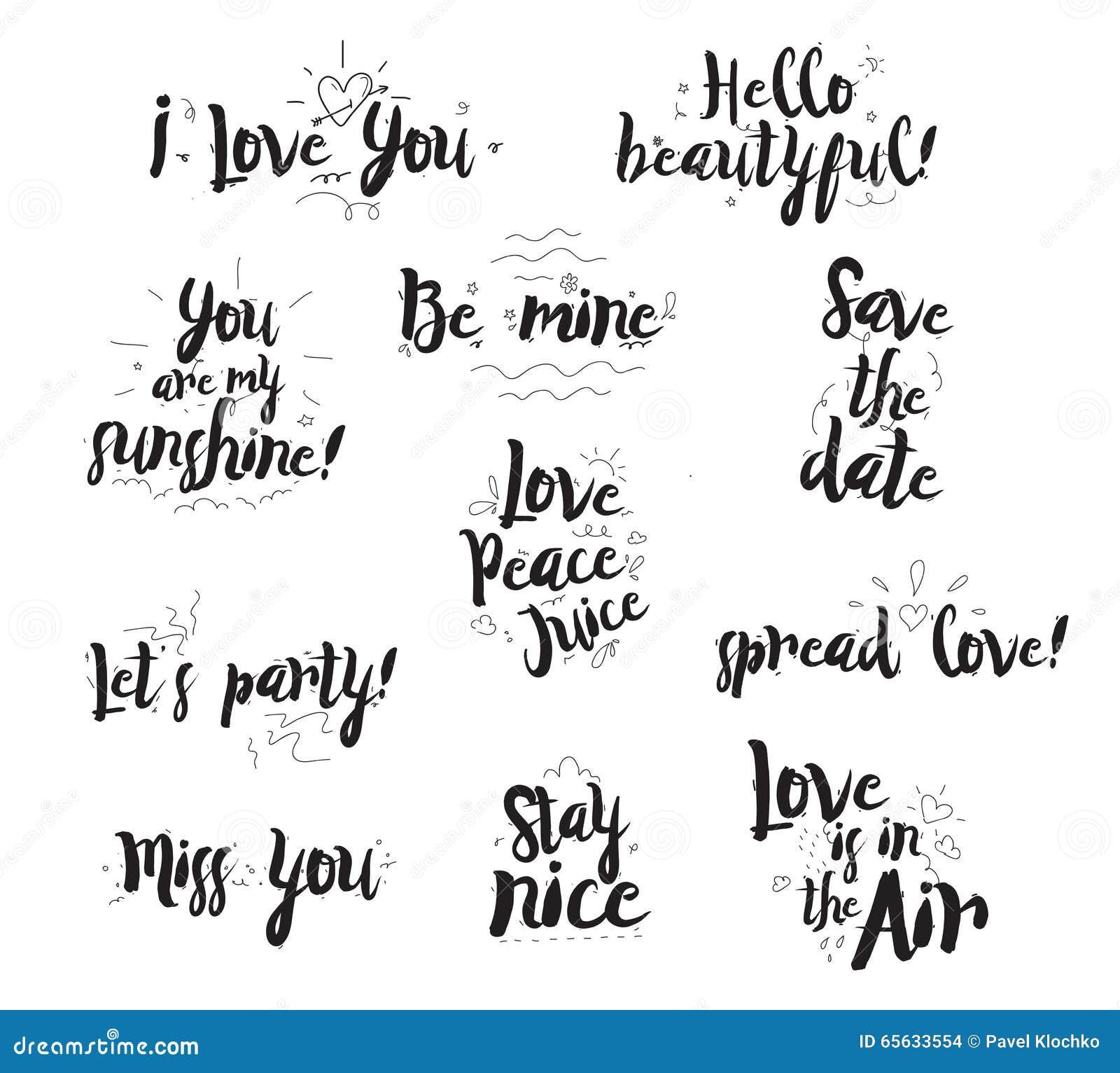 Expressions romantiques réglées Conception typographique des citations Noir sur le blanc Calligraphie, utilisables modernes pour
