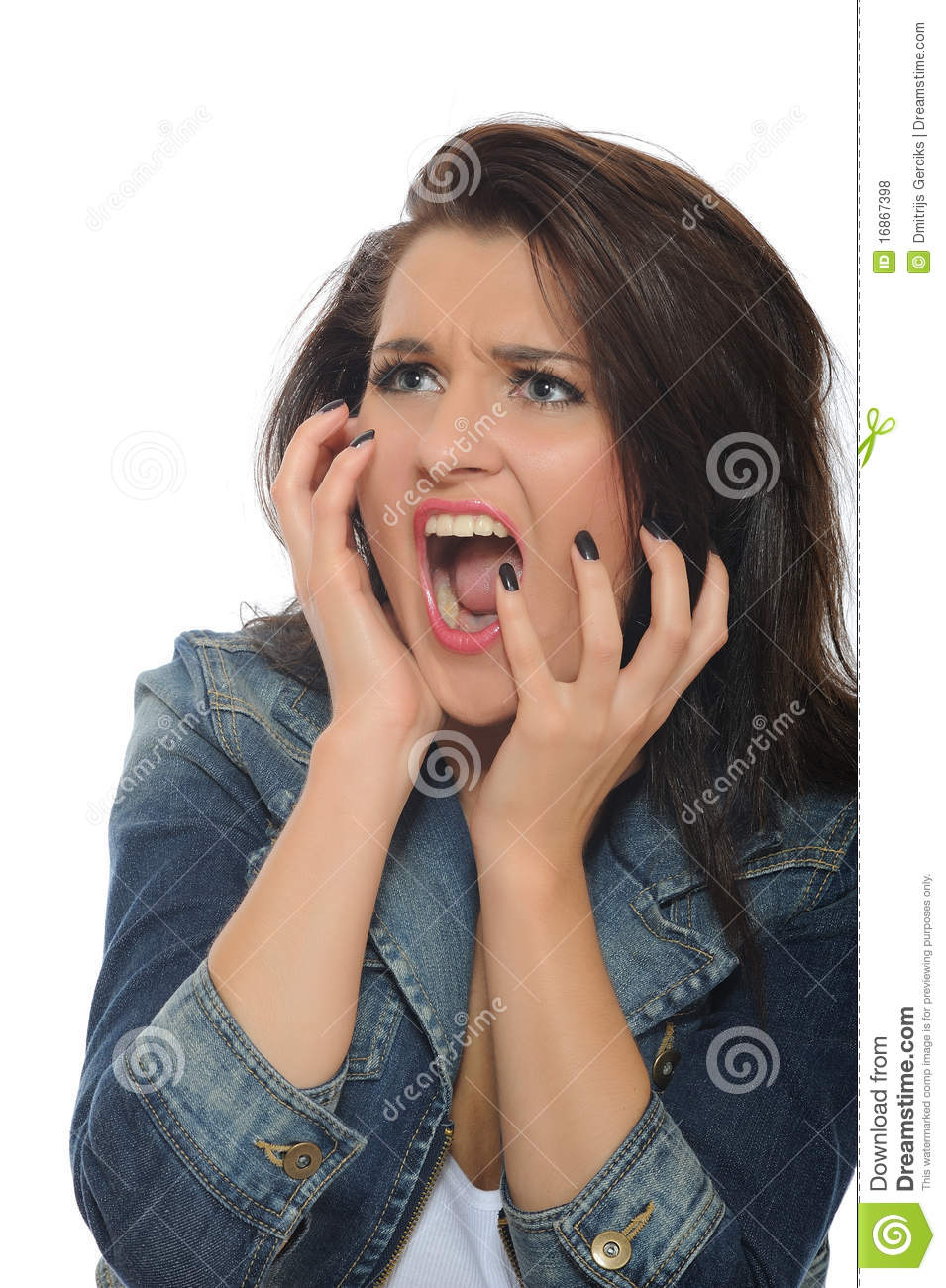 expressionsyoung attractive woman screaming stock photo