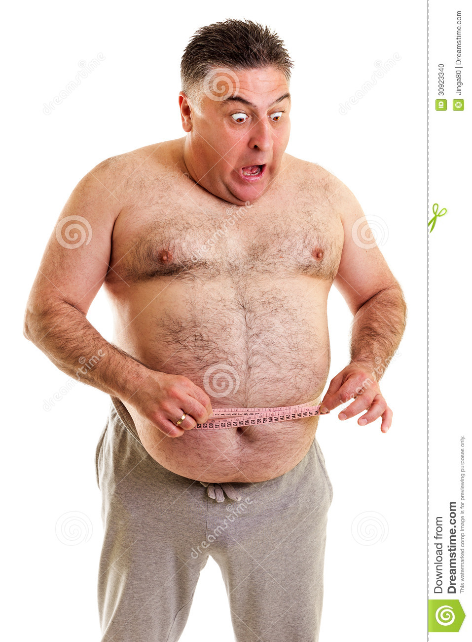 Expressive fat man with a tape measure
