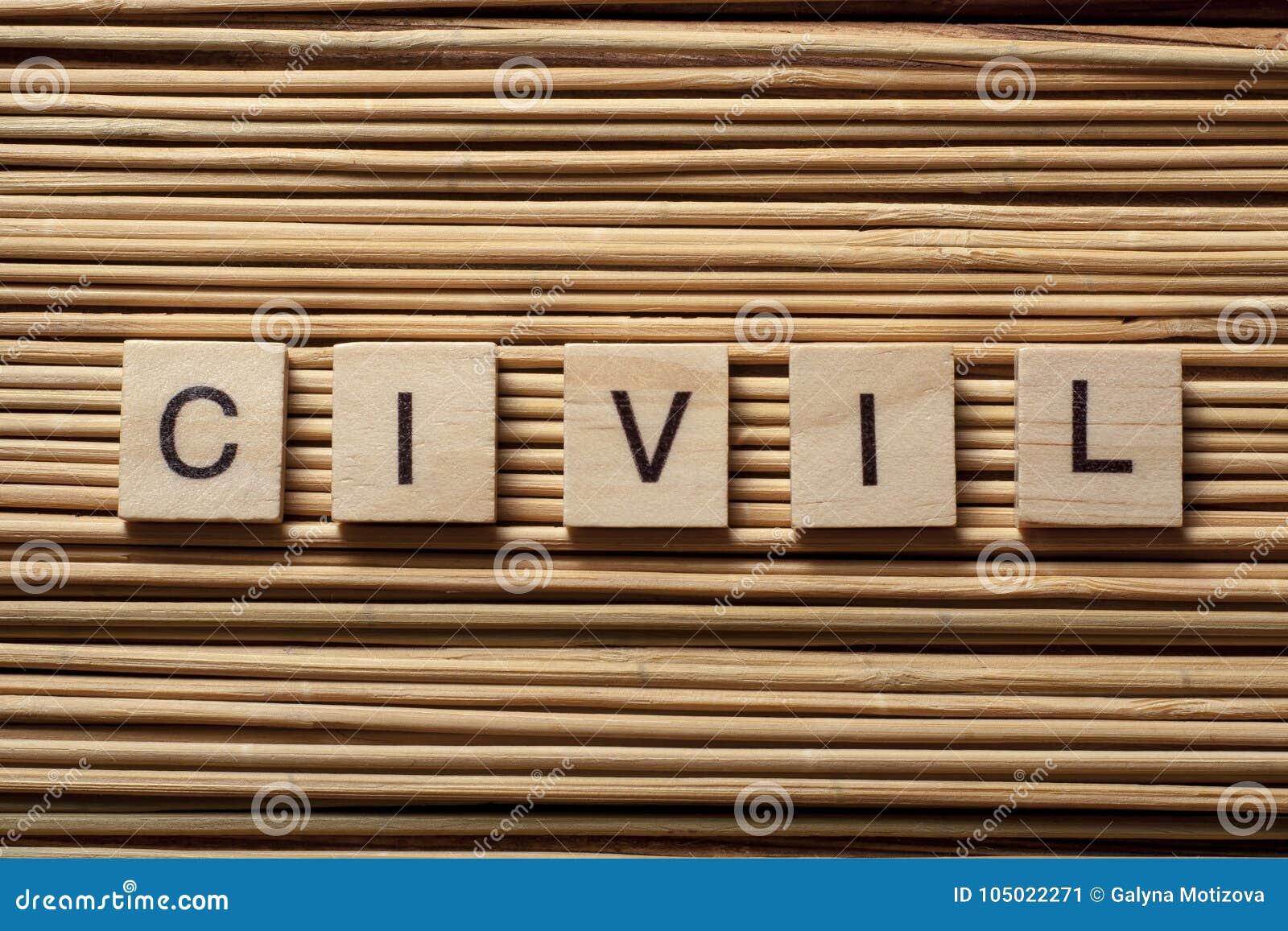 Exprima CIVIL nos cubos de madeira no fundo de madeira