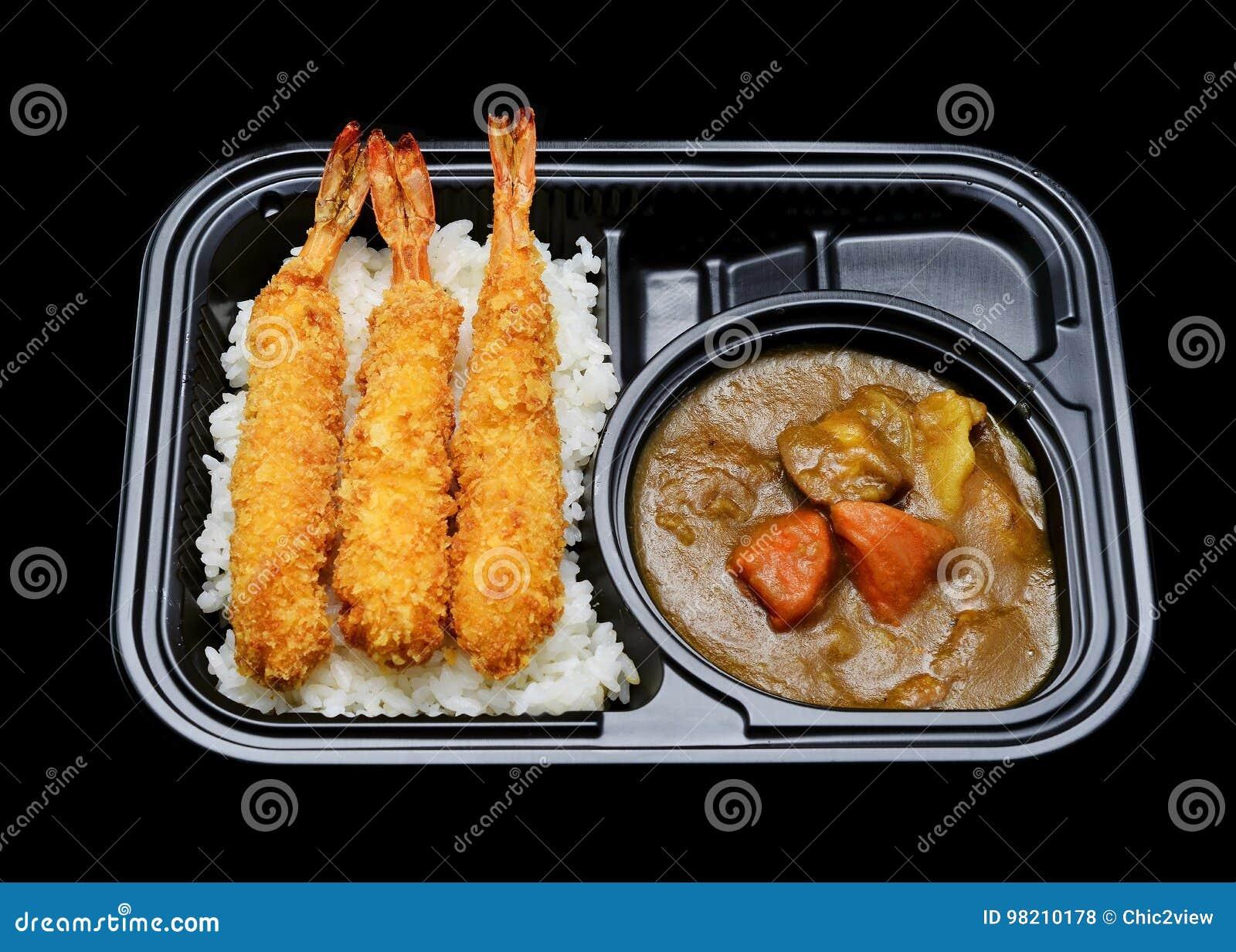 Exprimez la boîte japonaise à riz de cari de tempura pour le service de distribution Cuisine japonaise de tradition