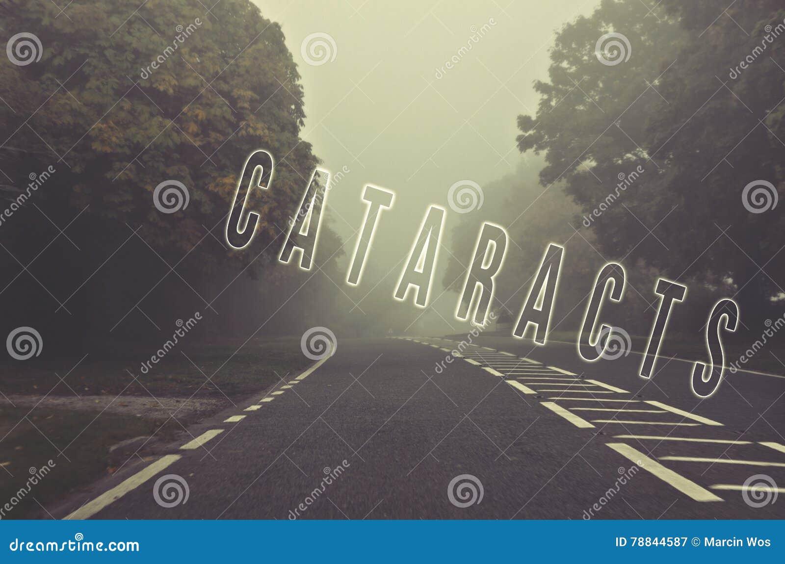 Exprimez les cataractes écrites sur la route brumeuse et brouillée, automne roa de danger