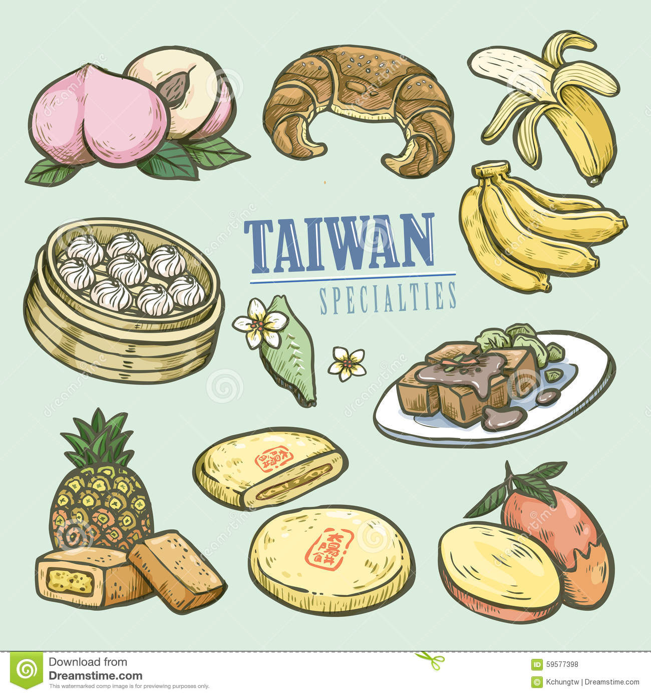 exquisite taiwan specialties collection stock vector