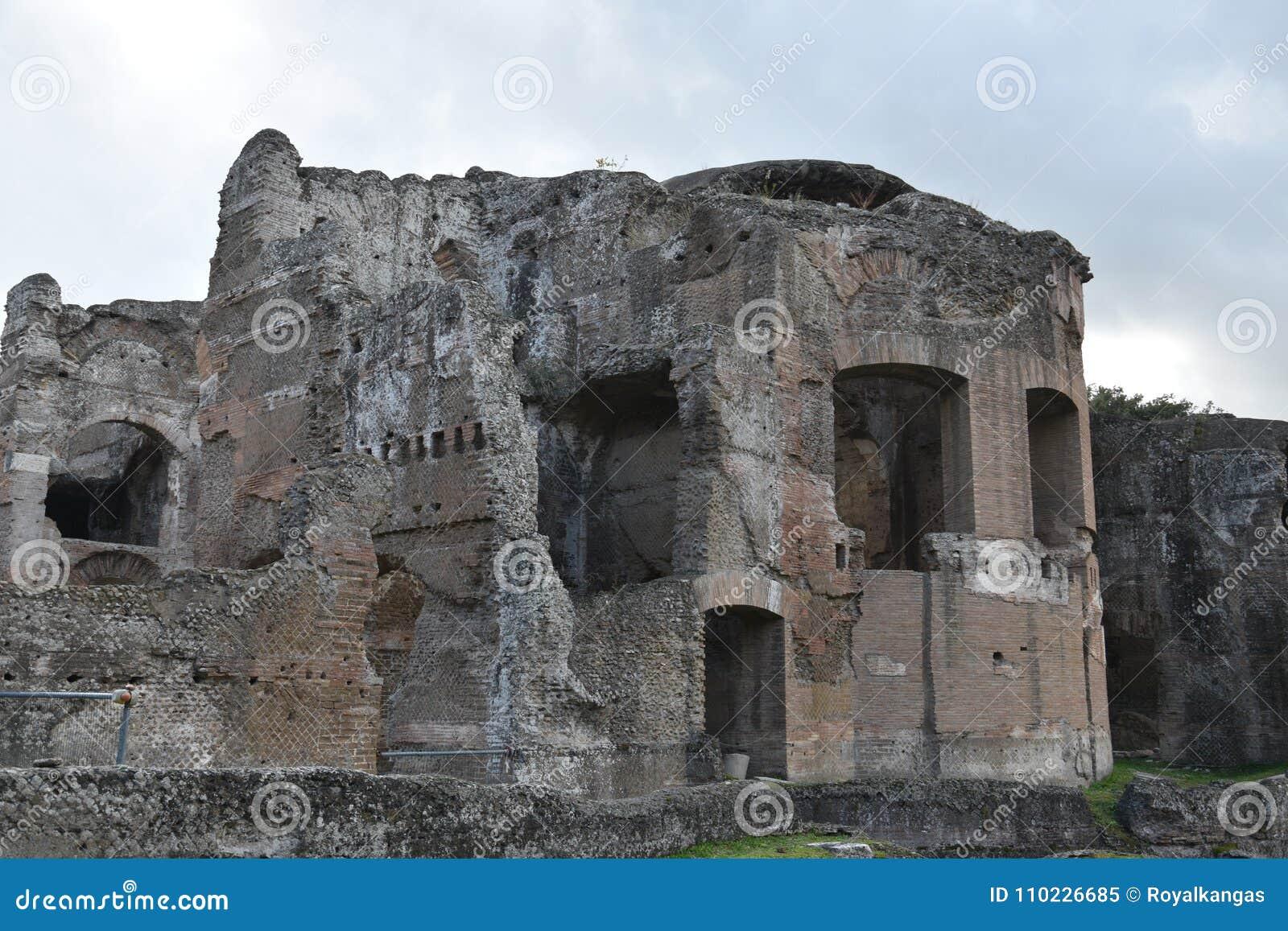Extérieur de Chambre de Bath de Therme de Grands de villa du ` s de Hadrian, Tivoli