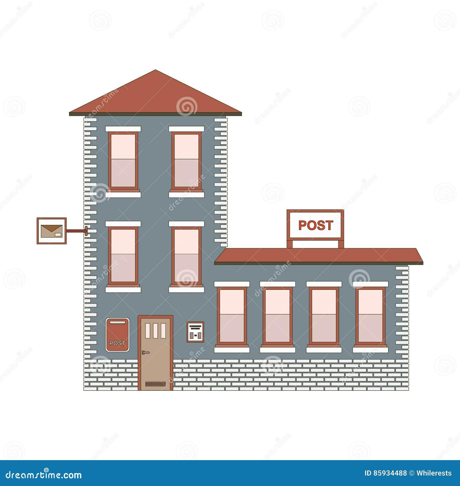 Extérieur De Construction De Bureau De Poste Illustration Eps10 De