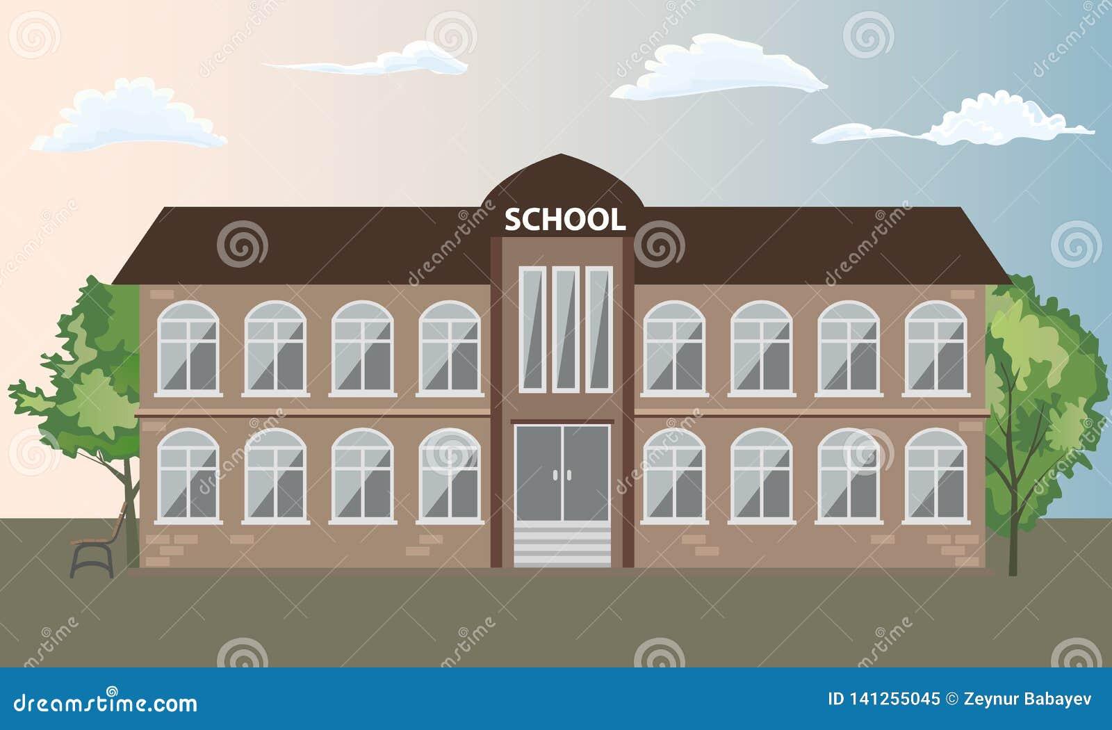 Extérieur de vue de face de bâtiment scolaire avec des arbres Illustration de vecteur de style de couleur plate et solide