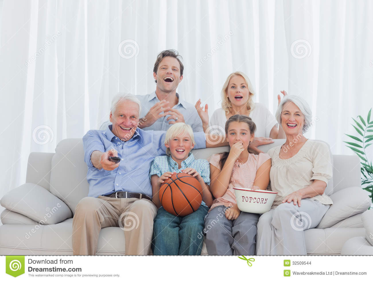 Family watching tv clip art