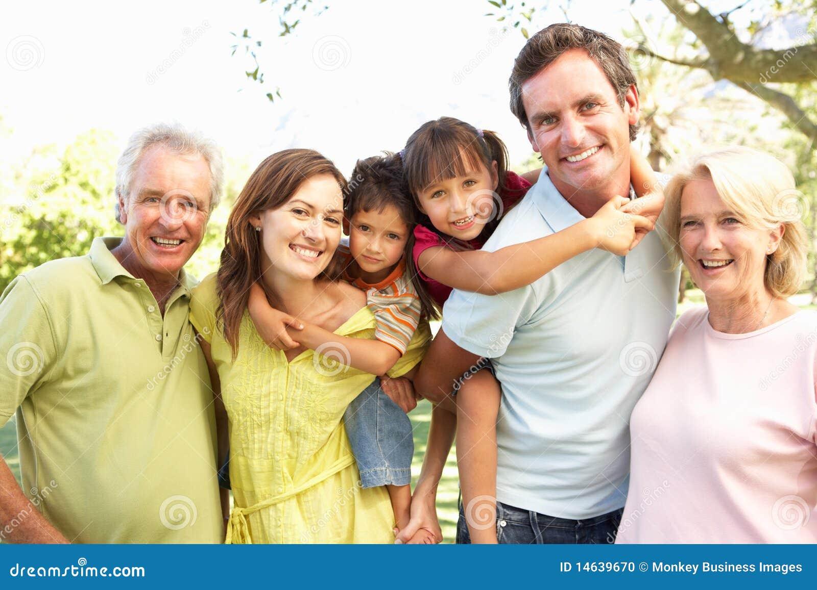 Extended Group Of Family Enjoying Day