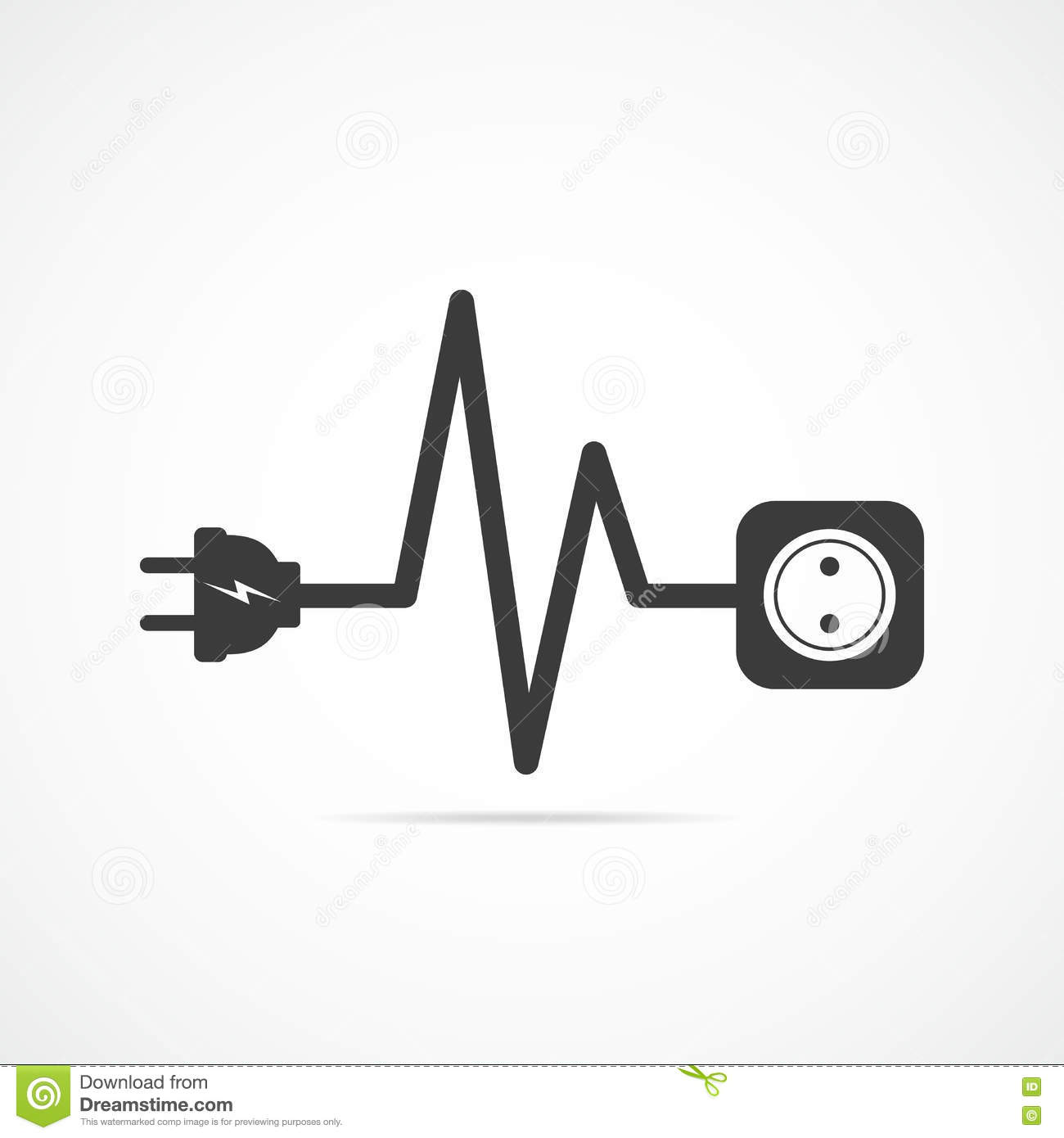 Wire plug and socket flat icon. Vector illustration. Plug, socket and cord  in the form of heartbeat. Concept of connection and disconnection of the ...