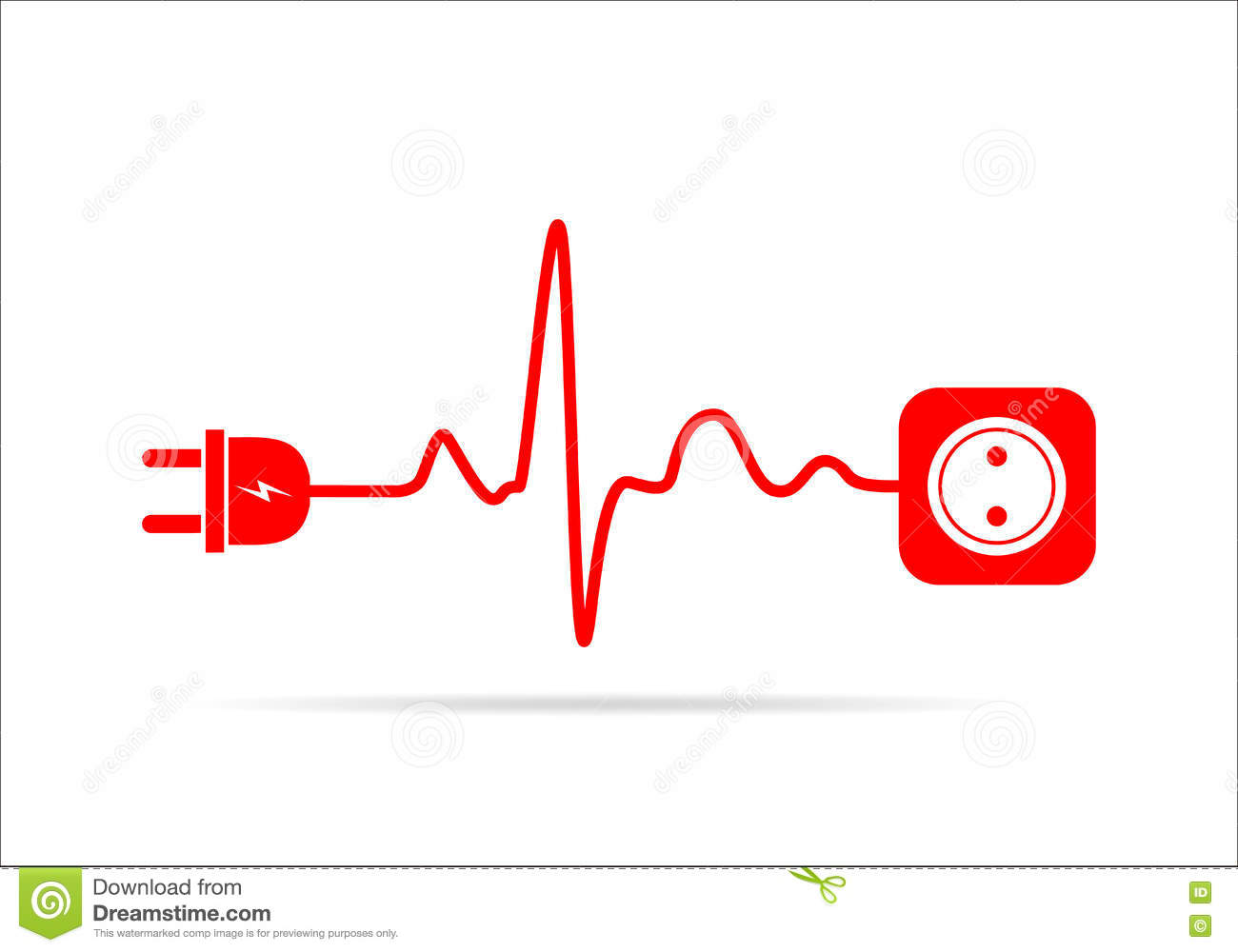 Extension cord in the form of heartbeat. Vector illustration.