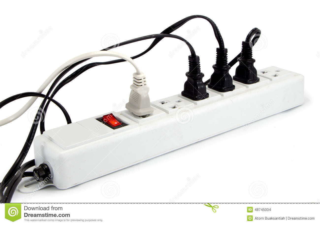 Extension Cord With Multiple Asian Plugs Stock Photo