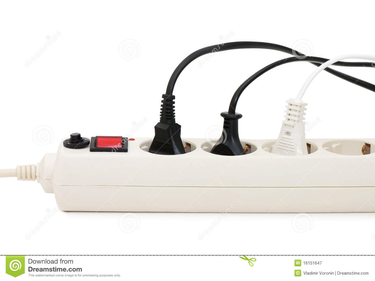 Animation Extension Lead : Extension cord with plugs royalty free stock photography
