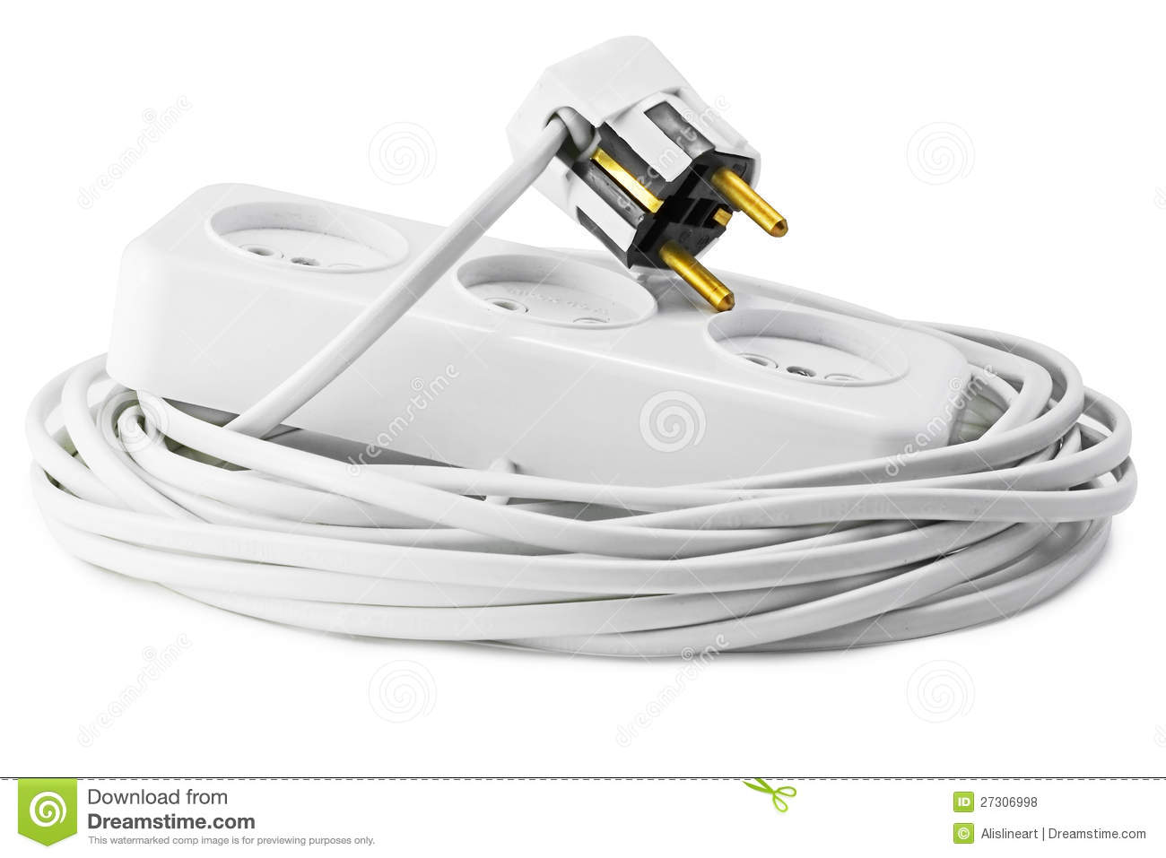 Extension Cord With Plugs And Socket Stock Photo - Image of tool ...