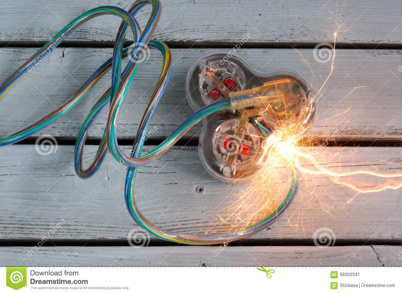 Extension Cord Short Circuit Stock Image Of Cable Wiring A