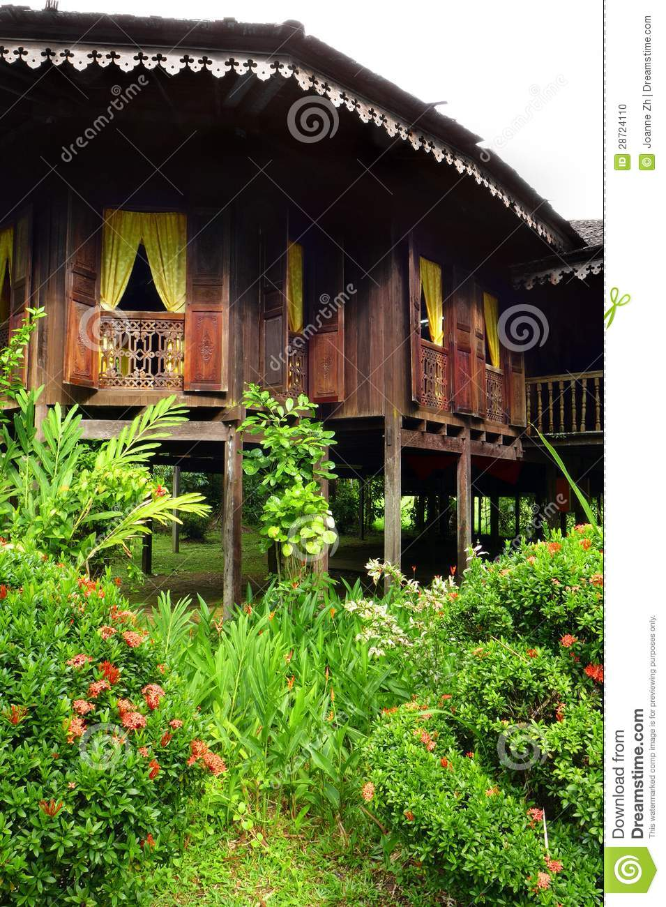 Interesting House Exterior Design In Kulai Malaysia: Exterior Of Antique Ethnic Malay House Stock Photo
