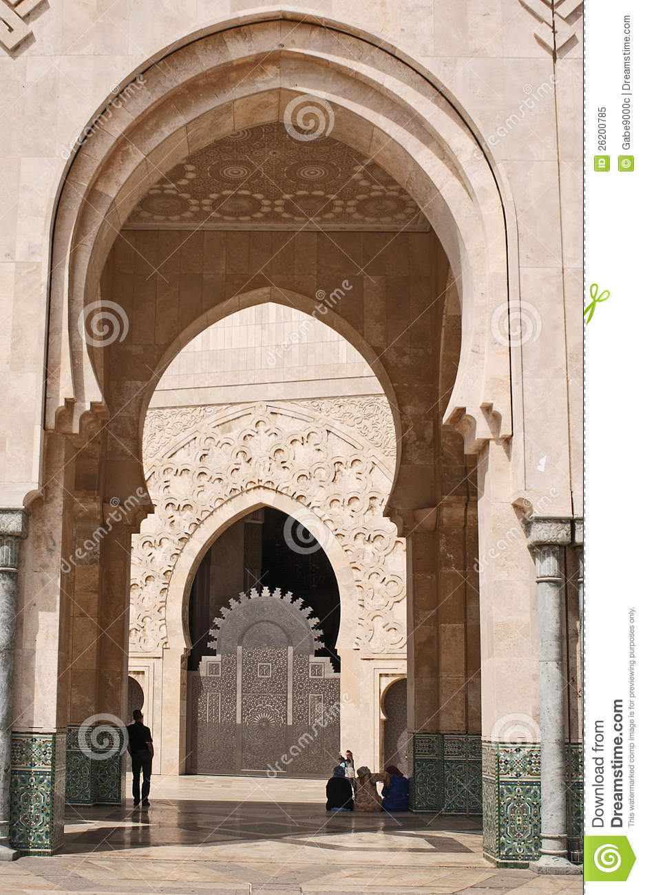 Exterior arch of hassan ii mosque royalty free stock photo for Mosque exterior design