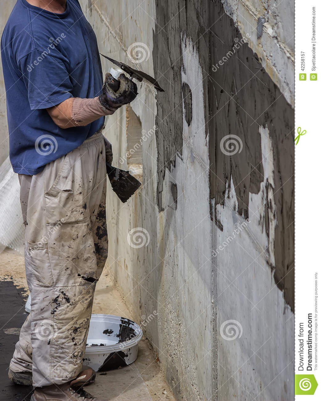 Exterior Basement Wall Waterproofing 2 Stock Image