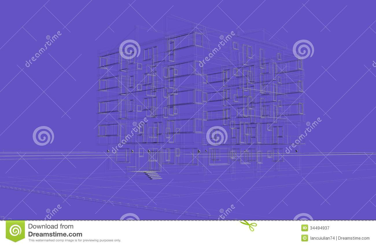 Exterior blue background building wireframes design for Exterior background